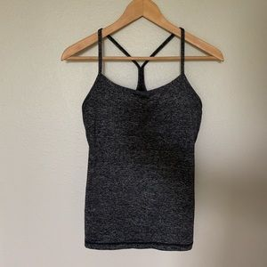 Lululemon Power Y Workout Tank Black Gray Marl
